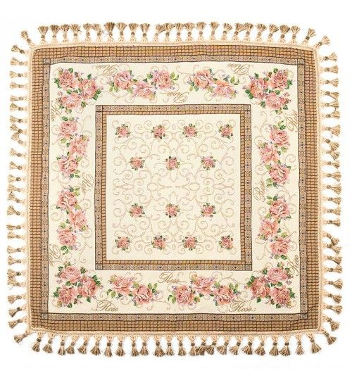 FABRIC TABLE COVER W_ROSES 110X110