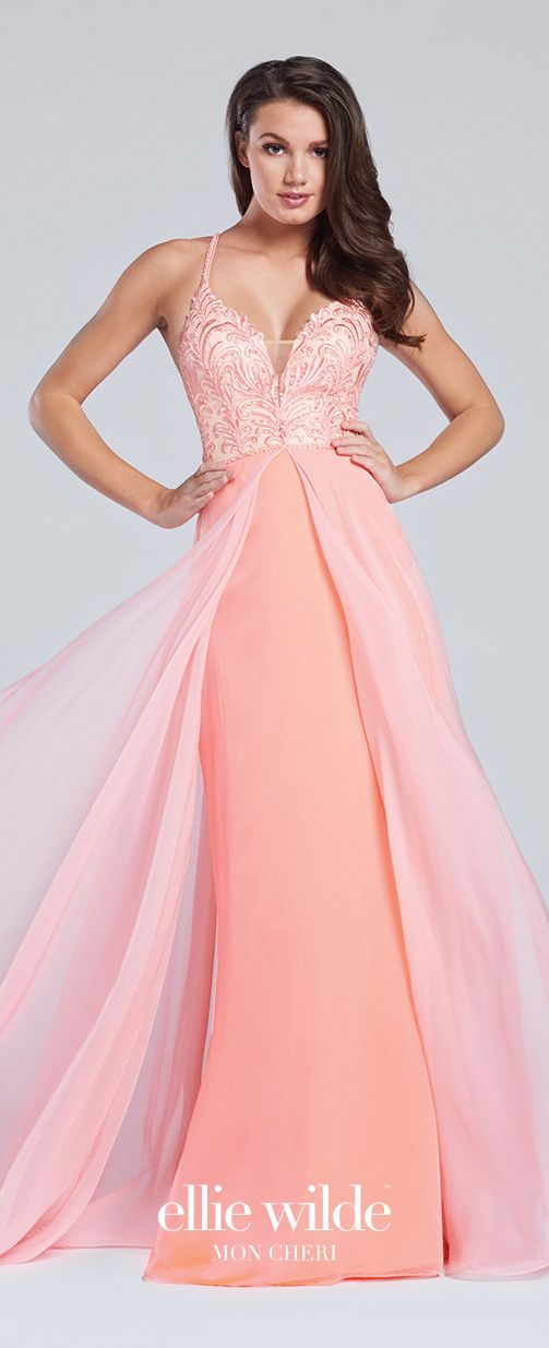 00c1e5524f8 Prom Dresses 2017 - Ellie Wilde for Mon Cheri - Coral Two-Tone Chiffon Prom  Dress with Hand-Beaded Bodice - Style No. EW117137