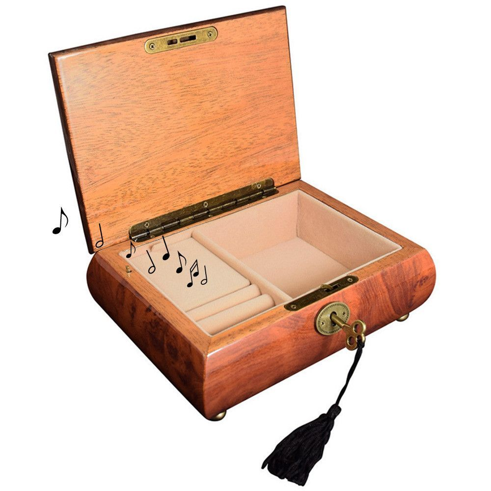 Wooden Musical Jewelry Box Organizer Storage with Lock and Key
