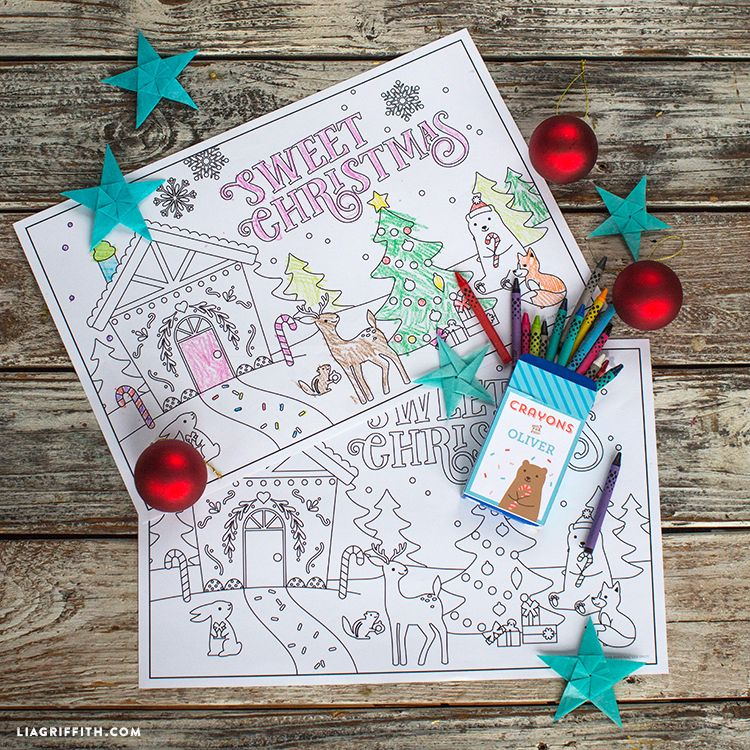 Kid S Coloring Placemats For Christmas Lia Griffith Christmas Coloring Printables Christmas Coloring Pages Holiday Crafts Christmas