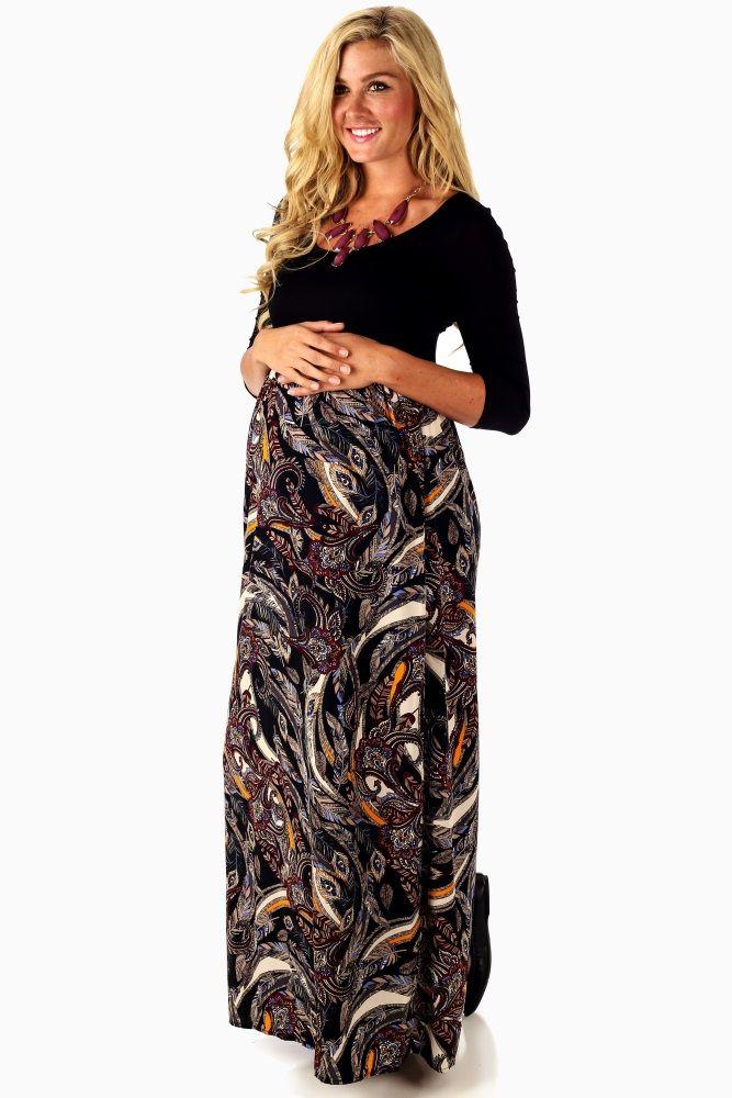 274de88ffd Black Leaf Printed Bottom 3 4 Sleeve Maternity Maxi Dress ...