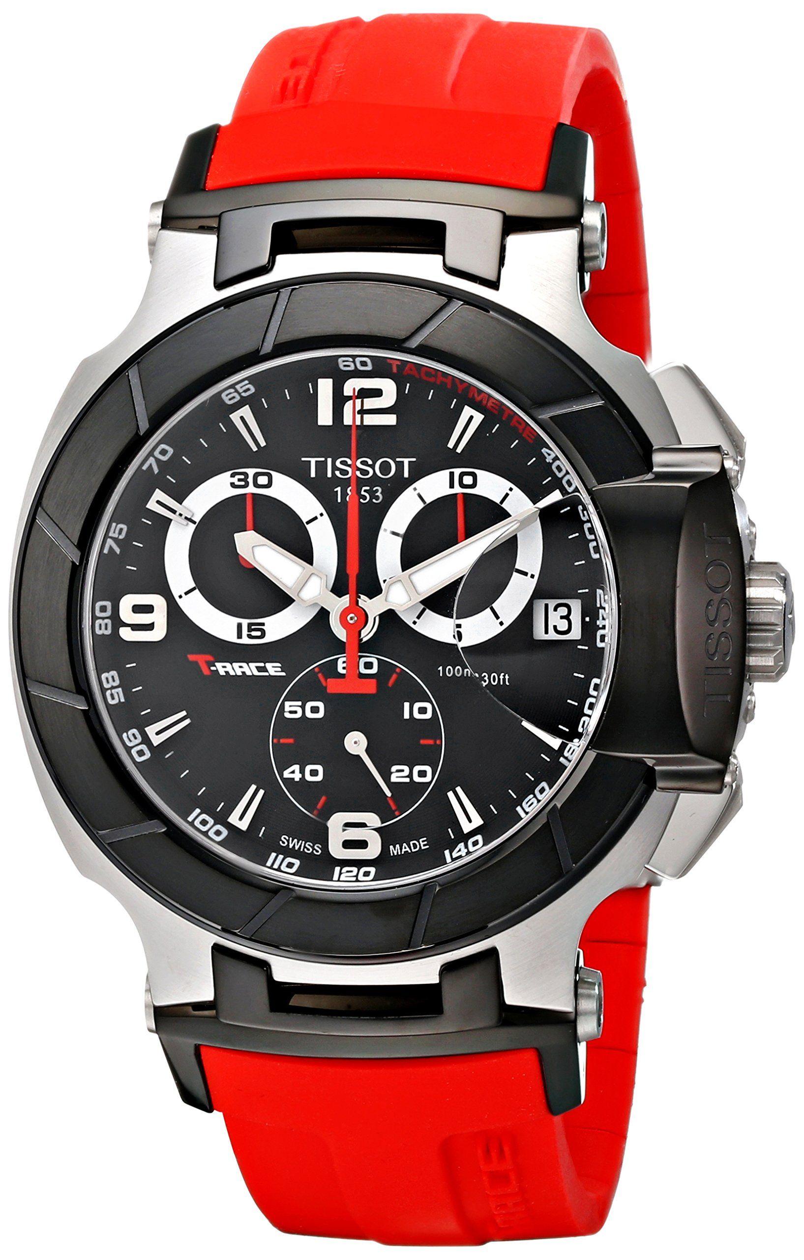 Tissot Men s T0484172705701 T-Race Red Strap Chronograph Watch  Tissot   Watches e8a1a1c7b9d