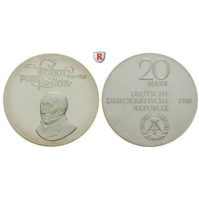 DDR, 20 Mark 1981, vom Stein, PP, J. 1579 20 Mark 1981