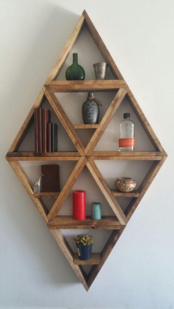 Large Diamond Wooden Shelves Etsy Wooden Shelf Unit Diy Wall Shelves Wooden Shelves