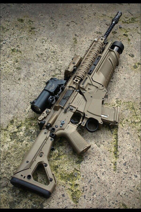 Knight's Armament's SR-15 with Elcan Specter Dual-Role sight, PEQ-15 laser aiming module, and 40mm Enhanced Grenade Launching unit.