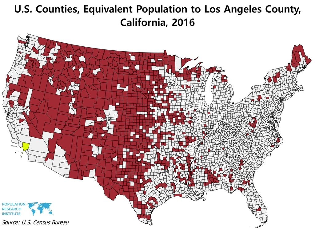 All These U S Counties Combined Have The Same Population As Los Angeles County California Los Angeles County Map Los Angeles
