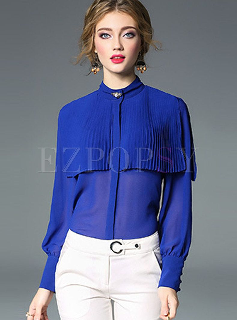 df42e7cc280 Stylish Lantern Sleeve Single-breasted Blouse in 2019