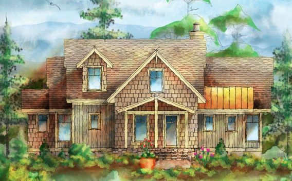 This attractive mountain cottage with detached parking has cedar shingles and bo This attractive mountain cottage with detached parking has cedar shingles and bo