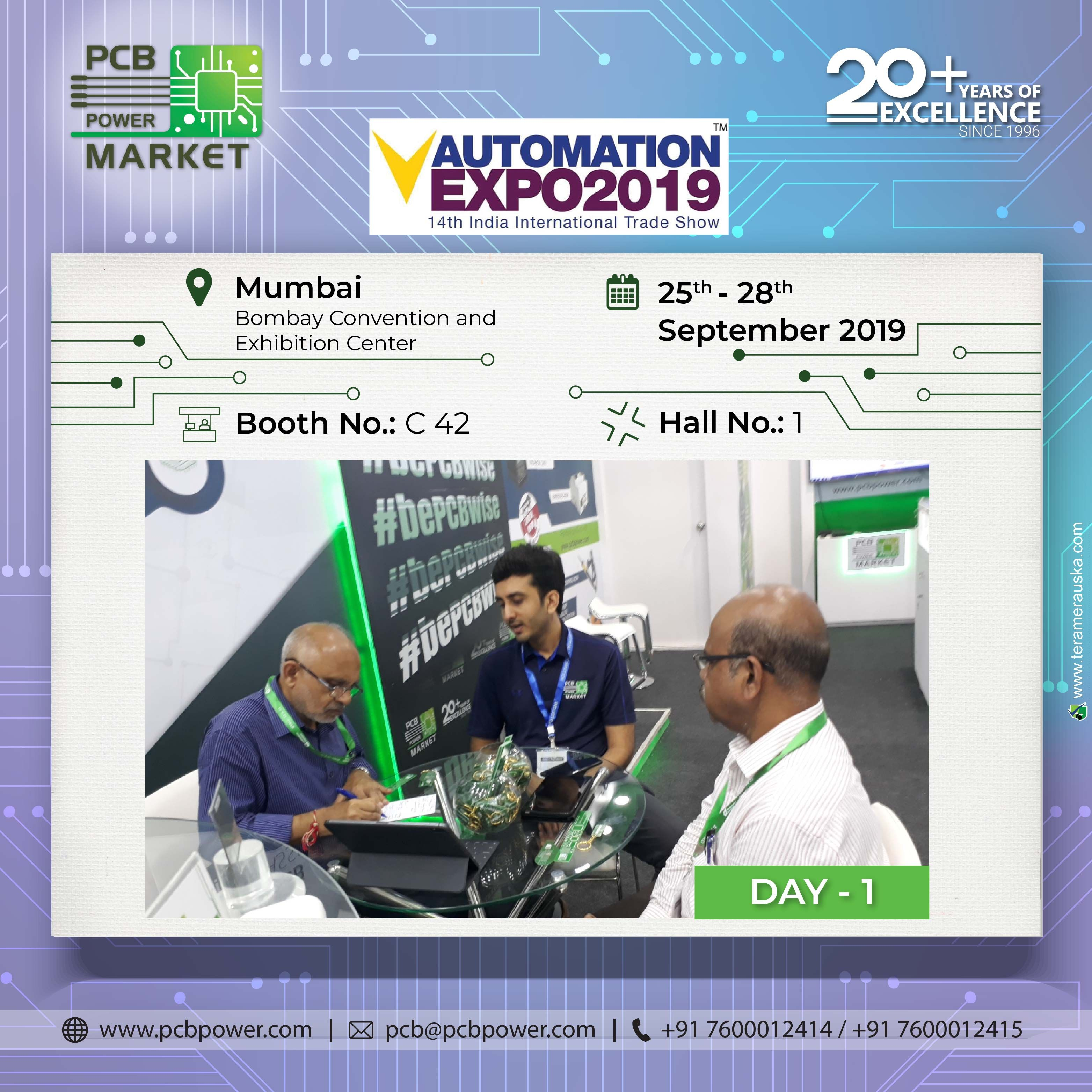 Day 1 Pcb Power Market Mumbai Automation Expo 2019 Booth No C42 Hall No 1 Bombay Convention And Exhibition Center M Marketing Automation Virtual Design