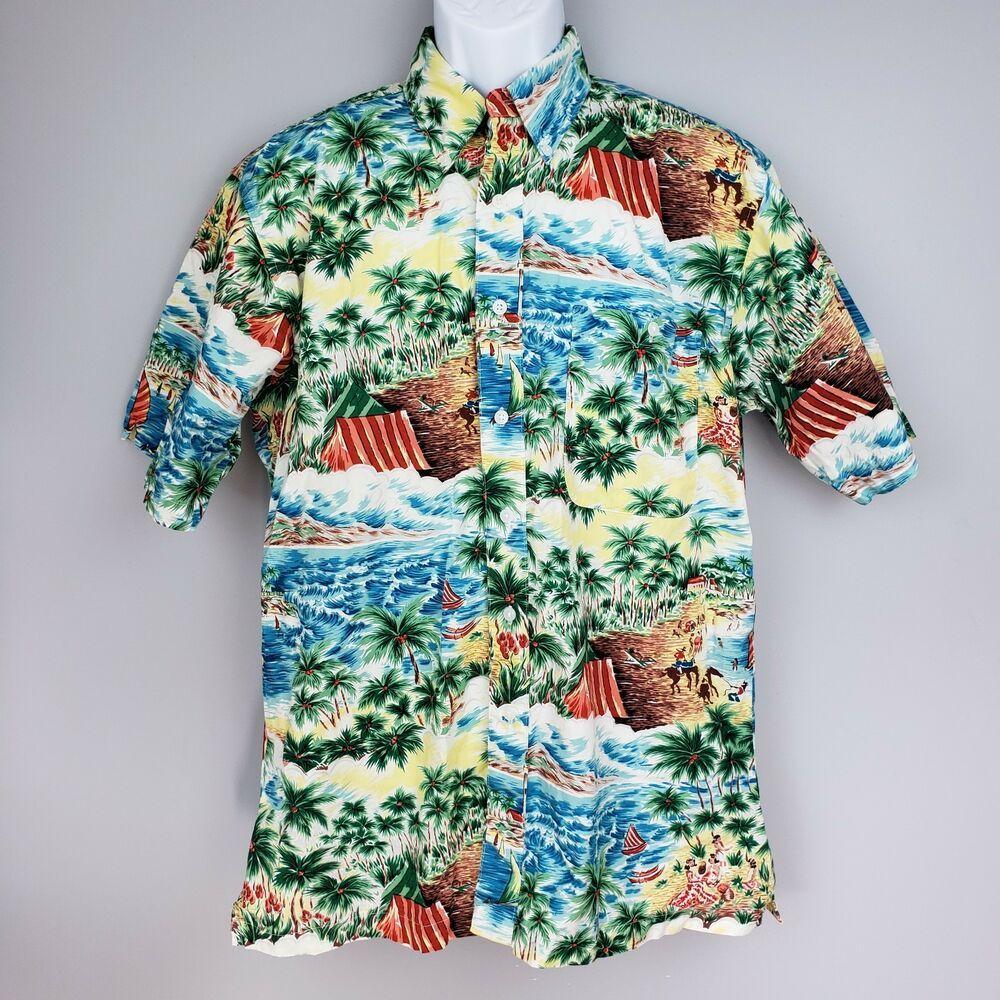 a8d918a35 Wrangler Western Hawaiian Aloha Shirt Lg Palms Horses Cowboys Paniolos  Beaches #Wrangler #Hawaiian