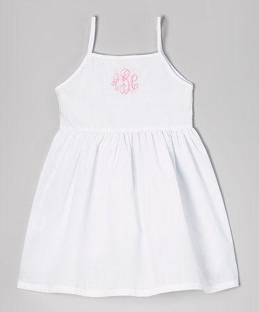 Another great find on #zulily! White Monogram Dress - Toddler & Girls #zulilyfinds