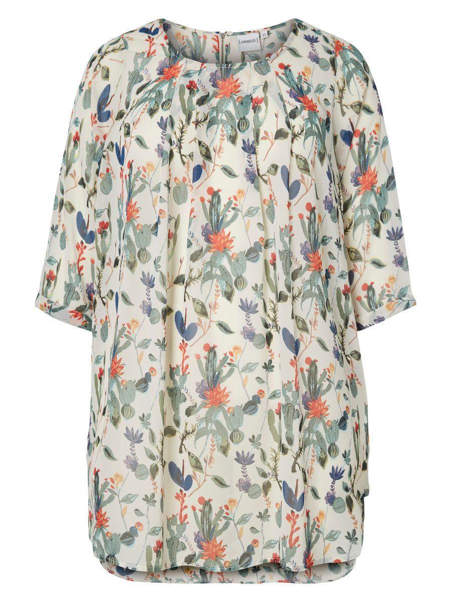 02e06a85e71d Super cool Chiffon tunika med kaktus print Junarose Modetøj til Damer til  hverdag og til fest