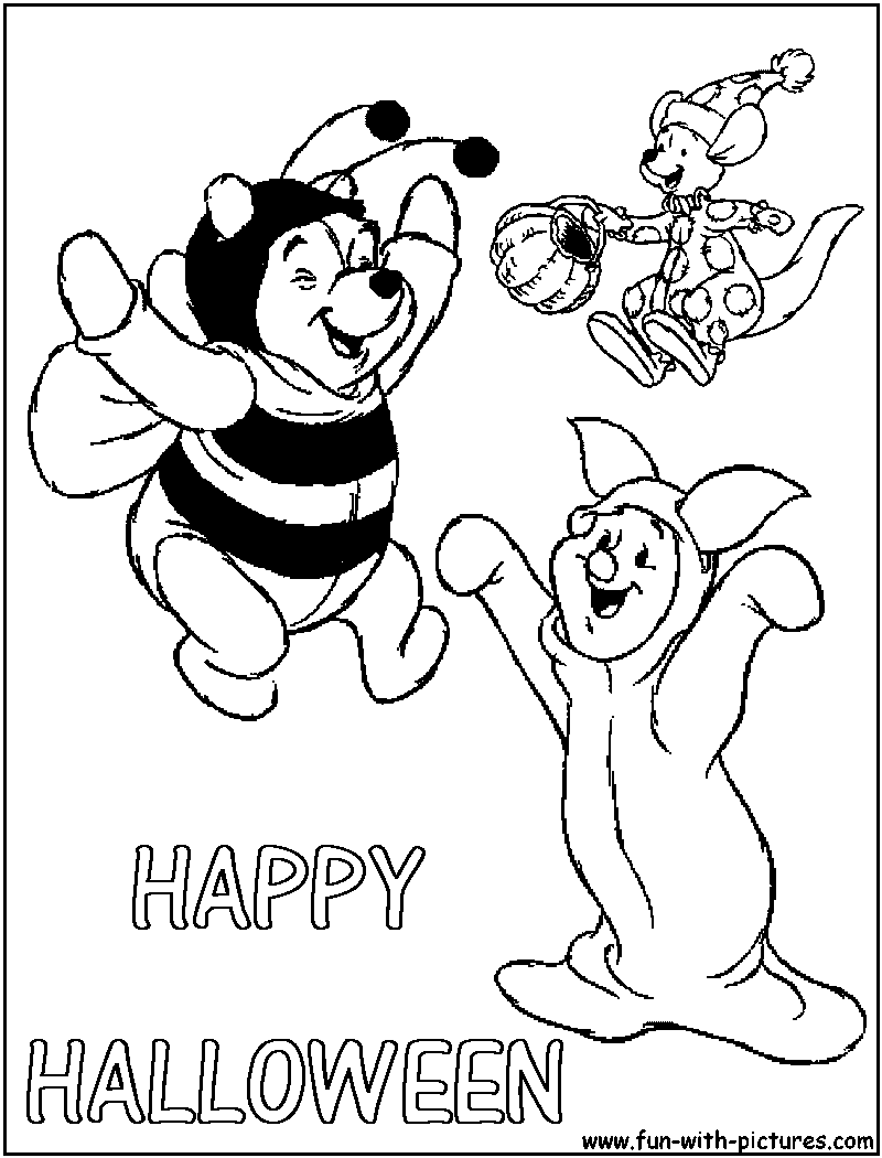 pooh holloween coloring pages - photo#23