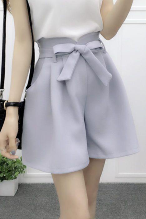 Cw32033 Korean Style Summer High Waist Wide Leg Shorts Short Skirts Outfits Korean Fashion High Waisted Long Shorts