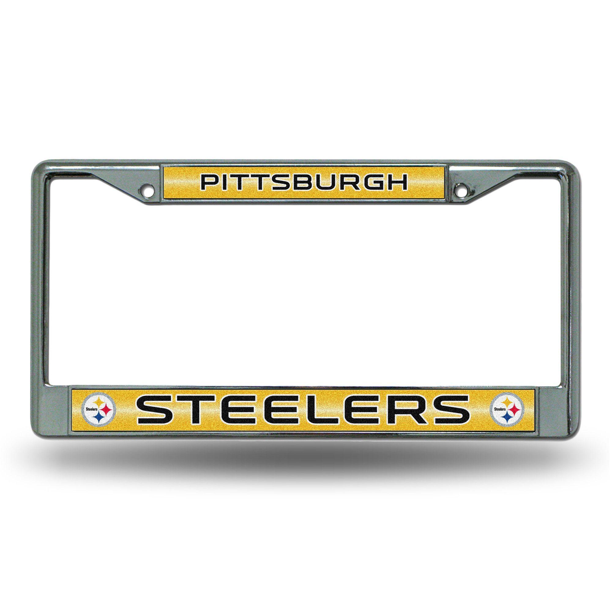 NFL Pittsburgh Steelers Bling Glitter Chrome License Plate Frame ...