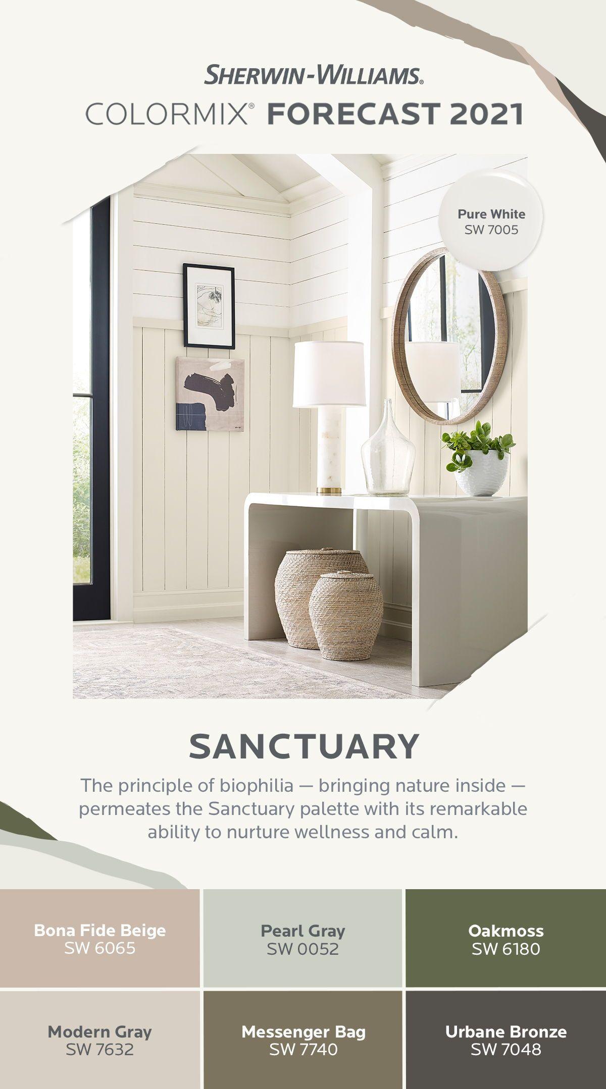 Sherwin Williams 2021 Colormix® Forecast Sanctuary Palette   Paint colors for living room ...
