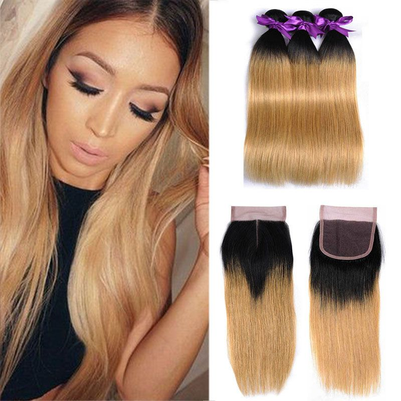 Silky Straight Colored Peruvian Ombre Human Hair Bundles With