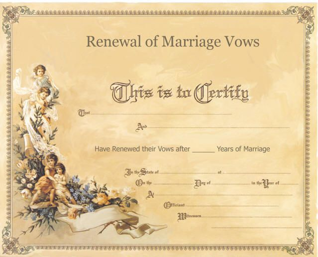 Renewal of vows ceremony certificate anniversary for Wedding anniversary certificate template