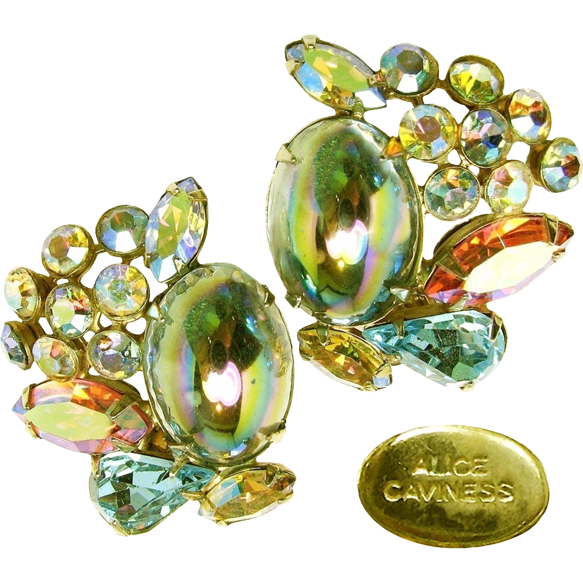 Vintage Alice Caviness watermelon glass stone and rhinestone earrings are the perfect statement earrings for any special occasion or dress up your denim, their in excellent condition too check these out with the scan able photos at brendastreasures on rubylane.com!