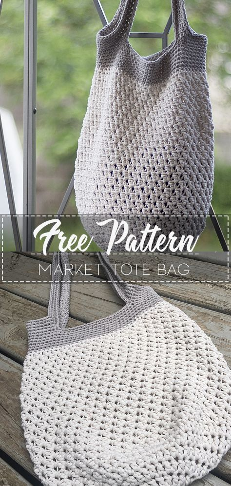 Market Tote Bag – Pattern Free – Easy Crochet #bagpatterns