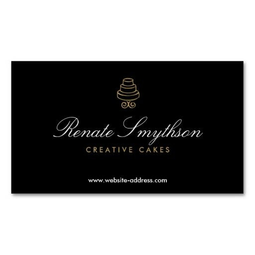 HAND-DRAWN CAKE LOGO IN GOLD II FOR BAKERY or CHEF Business Card - baker pastry chef sample resume