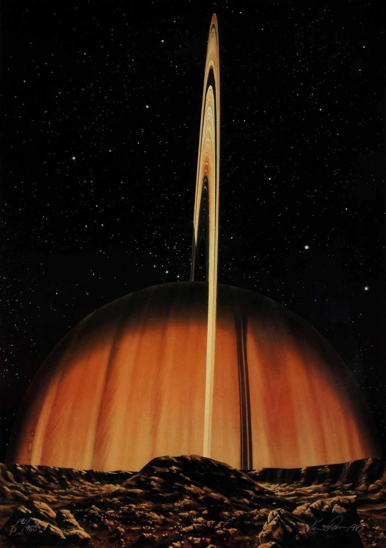 over Mimas in The Sword of Herschel by Kim Poor 1985 Saturn looms large over Mimas in The Sword of Herschel by Kim Poor 1985  Learn about gravity and laws of motion with...
