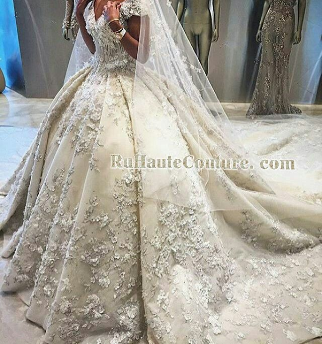 Cathedral Wedding Gowns: Royal Floral Beaded And Crystals Wedding Dress Cathedral