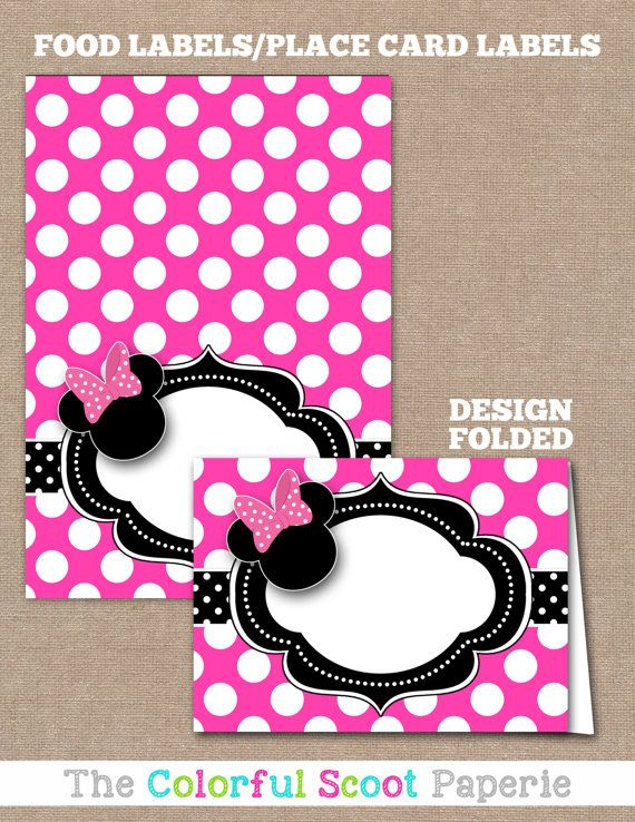 Minnie Mouse Food Labels Buffet By TheColorfulScoot Birthday Theme