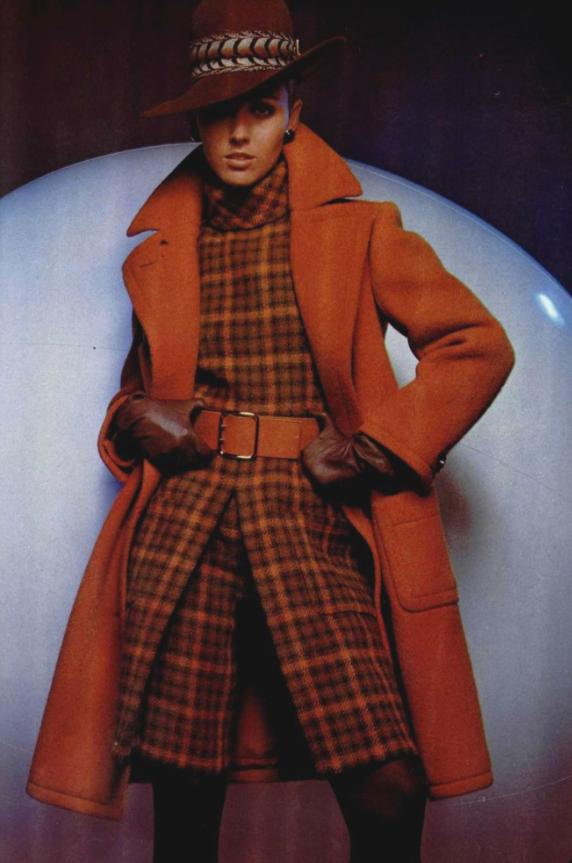 1967 Nina Ricci vintage fashion style color photo print ad model magazine 60s 70s orange plaid jacket coat suit shorts