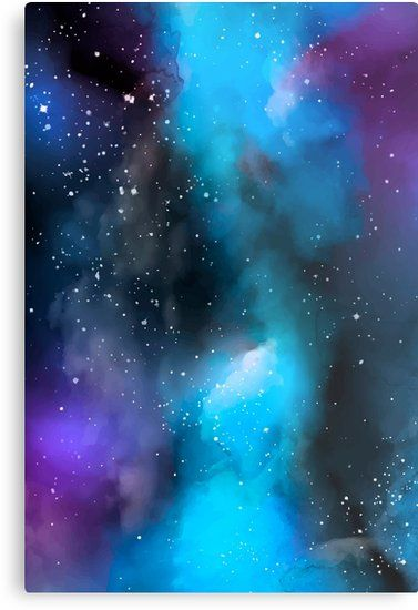 'Blue Watercolor Galaxy ' Metal Print by newburyboutique