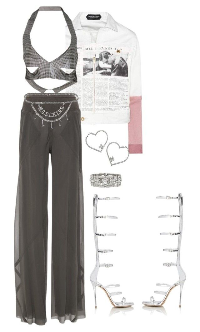 """""""Untitled #2928"""" by mollface ❤ liked on Polyvore featuring Undercover, Fannie Schiavoni, Rick Owens, Moschino and Giuseppe Zanotti"""