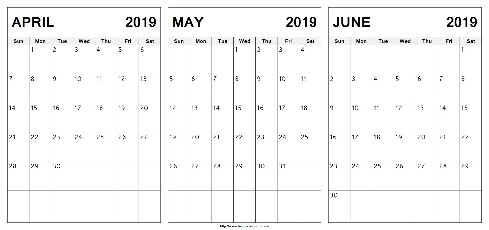 April May June 2020 Calendar In Pdf Word Excel Printable Template