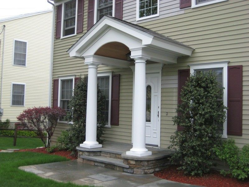 Barrel Entry With 10 Round Columns Pvc Trim Boards And Doug Fir Ceiling Porch Columns Patio Design Porch Patio