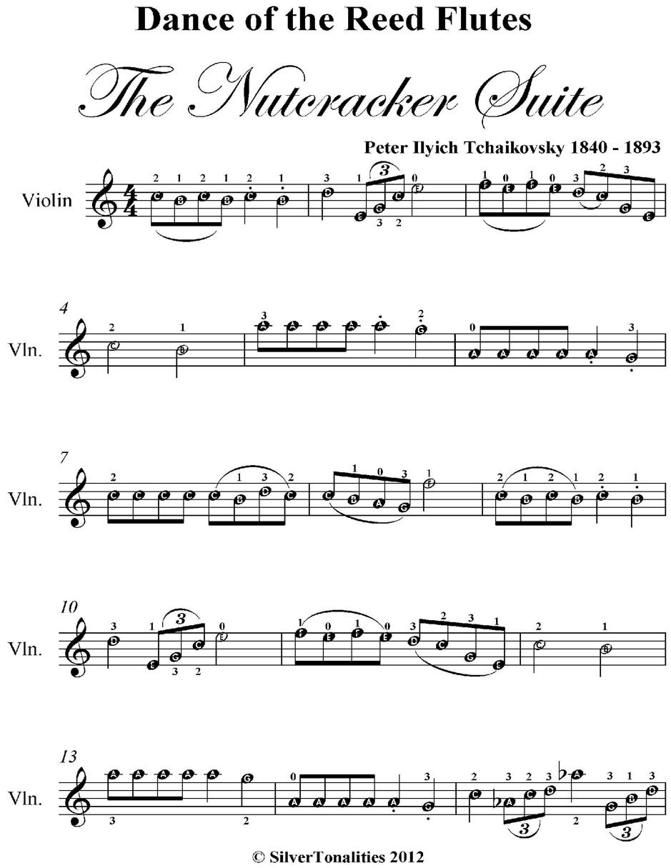 A Zdance Of The Reed Flutes The Nutcracker Suite Easy Violin