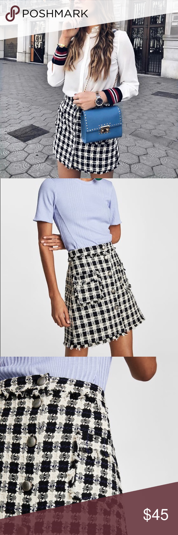Nwt Zara Checkered Tweed Textured Weave Mini Skirt Nwt Mini