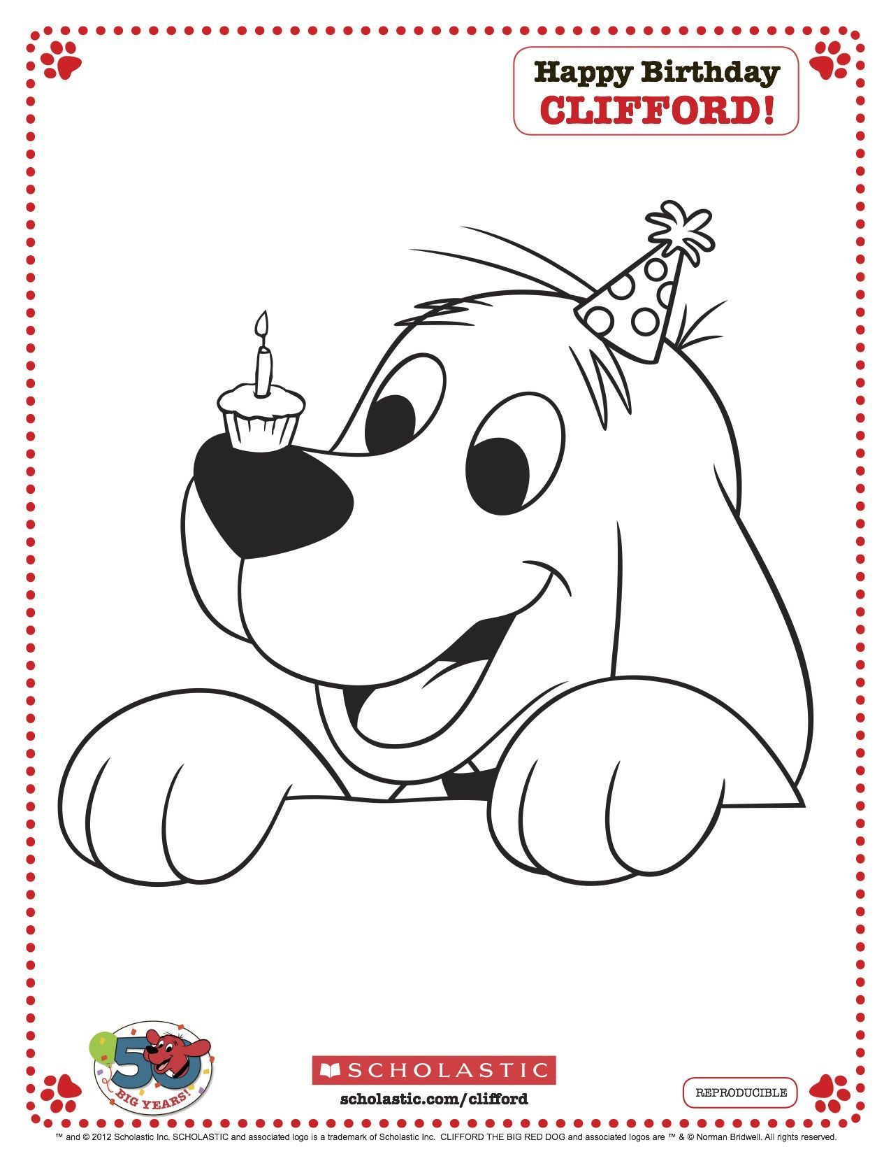 Clifford Printable Birthday Coloring