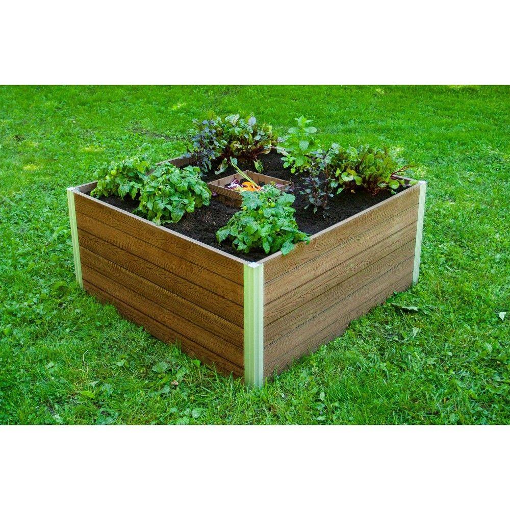 Urbana Keyhole Garden Square Planter Slate New England Arbors In