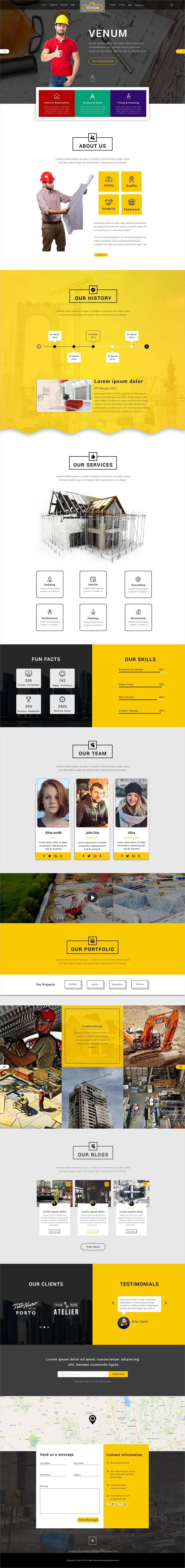 Venum is clean and modern design multipurpose PSD #template for creative onepage #construction company website download now..