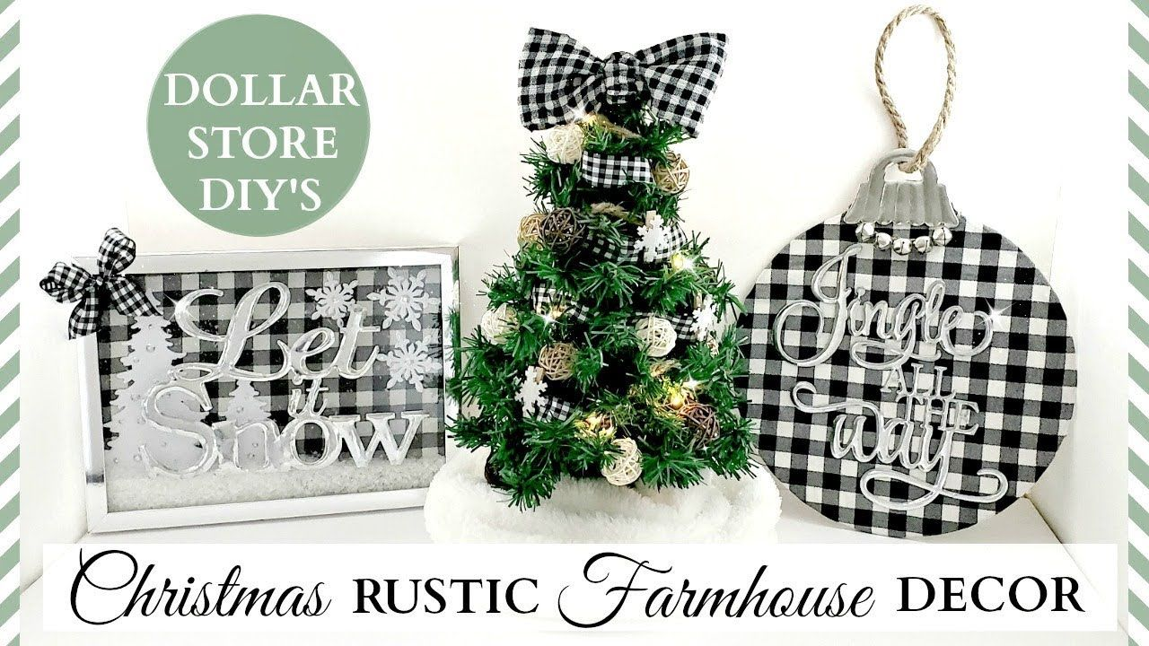 Dollar Store Diy S Rustic Christmas Farmhouse Decor Black White Buffalo Check Theme Dollar Store Diy Dollar Store Christmas Buffalo Check Christmas Decor