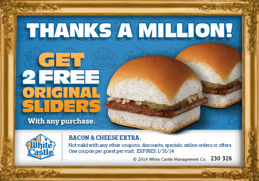 picture regarding White Castle Printable Coupons identify Pinned January 16th: Yourself are at the moment yearning 2 totally free sliders with