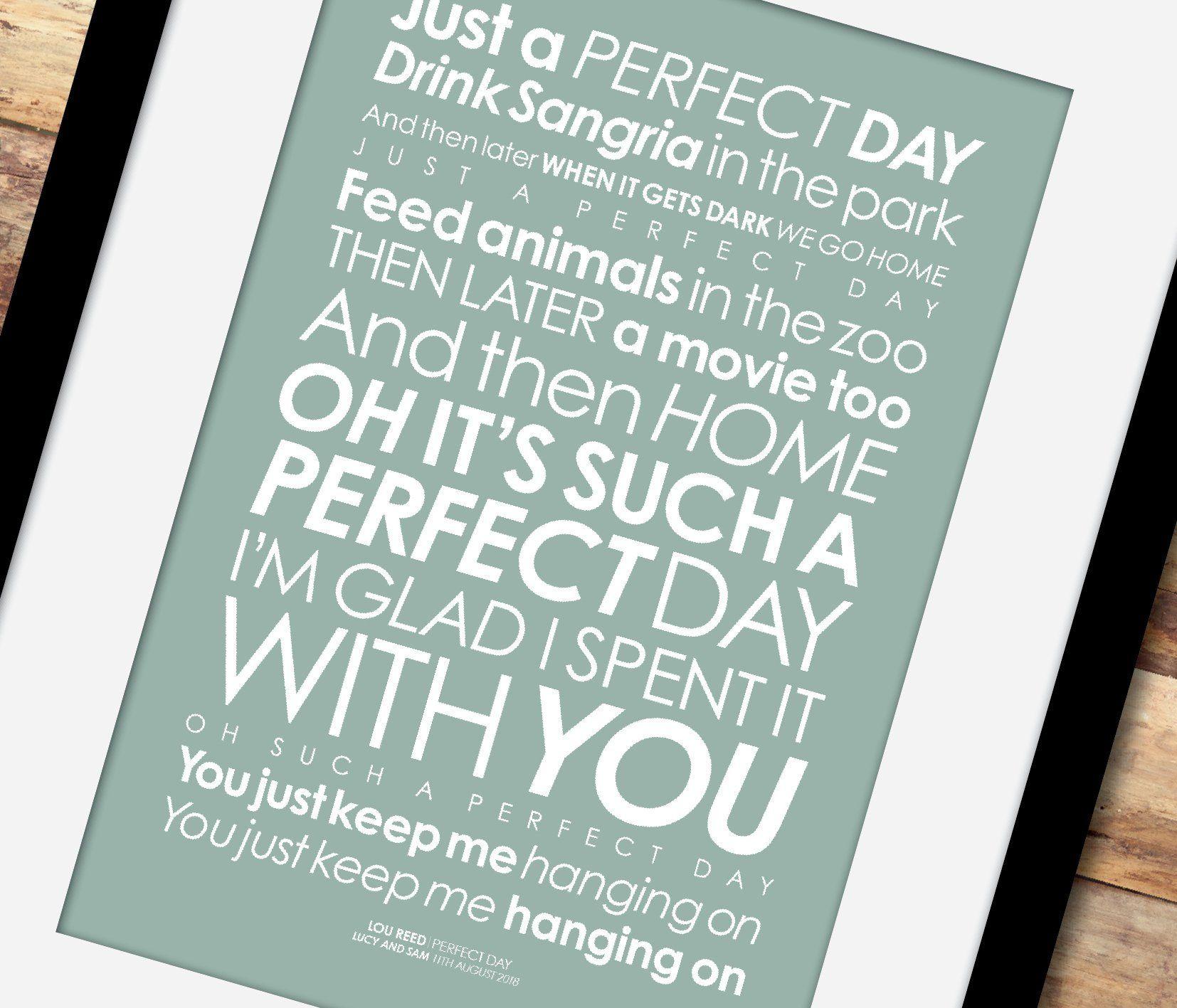 Perfect Day LYRICS Print. Option To Add