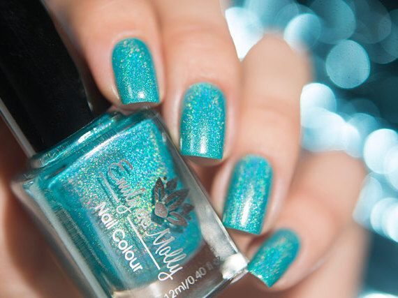 Nail Polish Reflection A Dark Turquoise Linear Holographic By Emilydemolly On Etsy