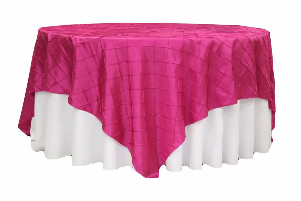 Pintuck Table Overlay - Fuchsia