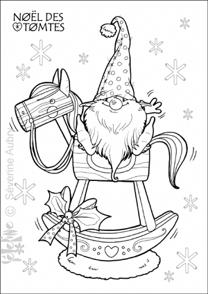 Embroidery Idea Santa Gnome On A Rocking Horse Tomte Cheval Hobbiesforadults Coloring Pages Christmas Colors Christmas Coloring Pages
