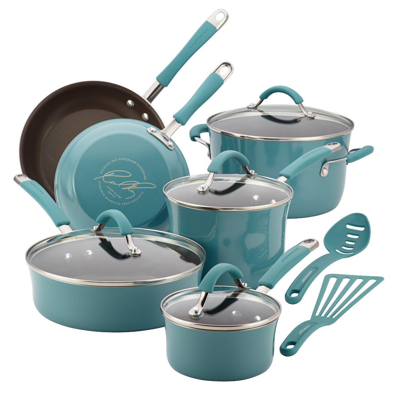 Rachael Ray Cucina Porcelain Enamel Nonstick 12-Piece Cookware Set ...