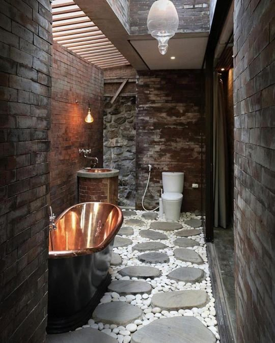 Idea For Outdoor Shower Side Of House Rock Floor Home Decor - A seductive home with lush colors and double baths