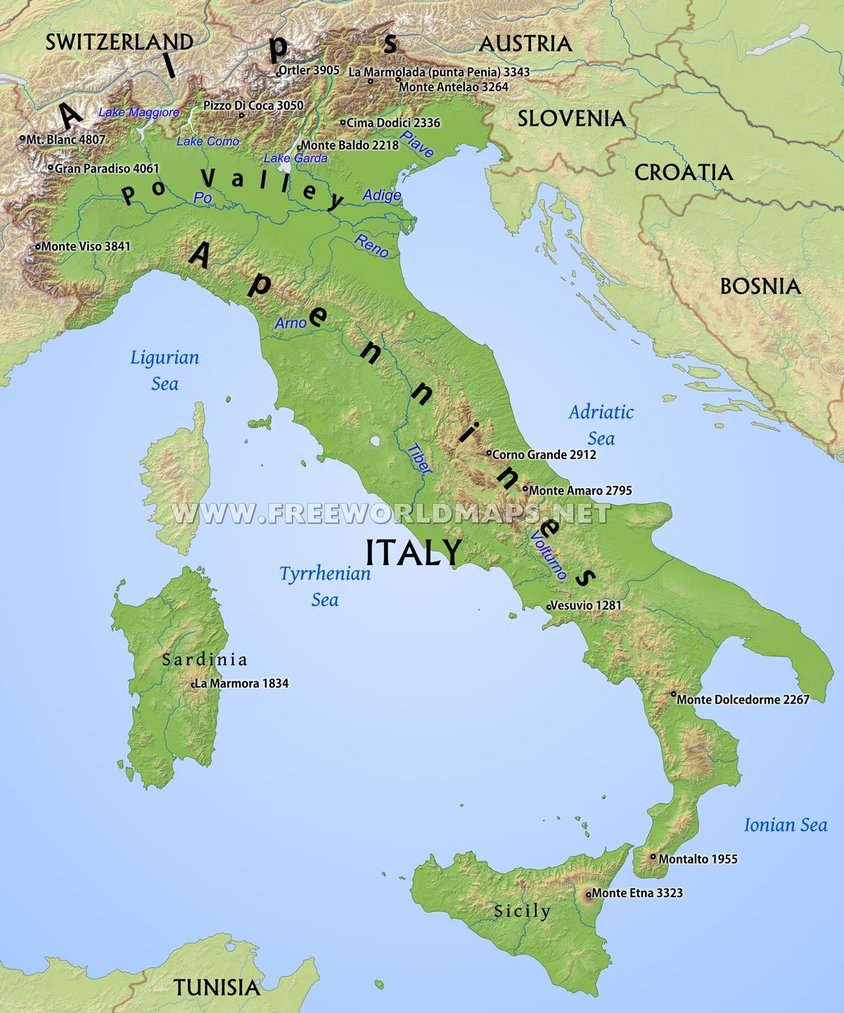 Map Of Italy With Mountains.Italy Physical Map Teaching Italy Map Italy Map