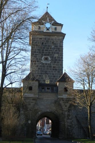 The Galgentor is one of the city gates to enter the medieval German town Rothenburg ob der Tauber.