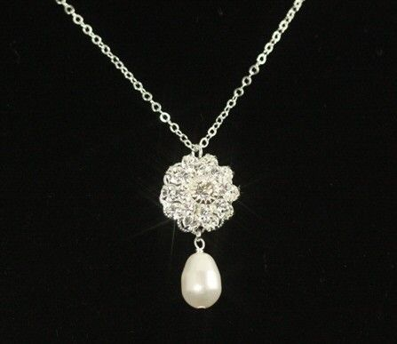Bridal Pearl Bracelet -- Rhinestone & Double Strand Pearl Bracelet, Swarovski Crystal Pearls, Rhinestones, Silver Flower -- VINTAGE GLAMOUR   Tailored