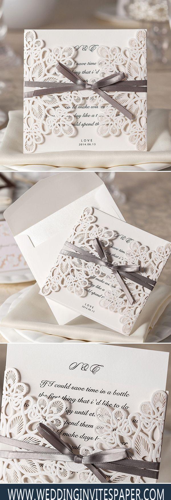 Ivory Laser Cut Cheap Wedding Invitation With Ribbon WLC015 | Laser ...
